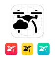 Quadcopter in sky icon vector image vector image