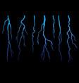 realistic lightning set on dark black background vector image