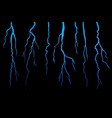 realistick lightning set on dark black background vector image vector image