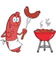 Sausage With Sausage On Fork And Barbecue vector image vector image