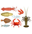 seafood in cartoon style icons vector image vector image
