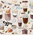 seamless coffee pattern doodle coffee collection vector image vector image