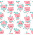 seamless cute celebrated baby pig blue pastel cart vector image vector image