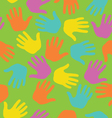 seamless pattern with colored hand prints vector image vector image
