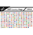 set 207 country flag circle vector image vector image