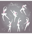Set ballet dancers hand drawn background vector image vector image