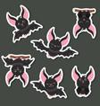 set cartoon bats set cartoon bats vector image
