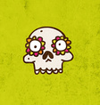 Skull with Floral Element Cartoon vector image vector image