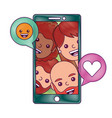 smartphone people talking love and smile emoticon vector image vector image