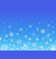 snowflakes blue background winter falling snow vector image