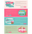 spring sale webpage with flowers plants vector image vector image