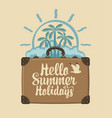 summer travel banner with suitcase palms and sun vector image vector image