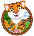 tiger cartoon in frame vector image vector image