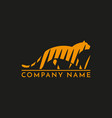 tiger in grass logo sign emblem pictogram vector image