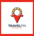 travel sun men place - sunny pin vector image vector image