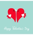 Two flying red birds in shape of half heart Cute vector image
