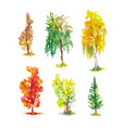 watercolor autumn trees set bright sketches vector image