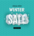 winter sale banner with white snowflakes vector image