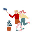 young girls relaxing making selfie on smartphone vector image