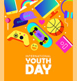 youth day card of fun teen activity icons vector image vector image