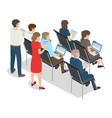 people with laptop and tablet on business coaching vector image