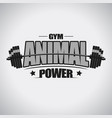 barbell sport t-shirt gym emblem vector image