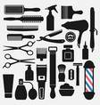 barbershop tools icons set vector image vector image