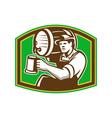 Barman Bartender Pour Beer Barrel Retro vector image vector image