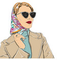 beautiful fashion woman in sunglasses vector image