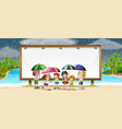 board template with kids in the rain vector image vector image