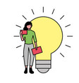 business woman with mobile and bulb idea vector image