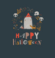 cartoon cute little halloween ghost in wreath with vector image vector image