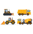 cement mixer and truck transporting cargo set vector image