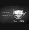 chalk black and white sketch of flat white coffee vector image vector image