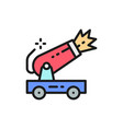 circus cannon flat color line icon vector image vector image