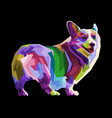 colorful corgi dog isolated on pop art style vector image vector image