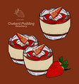 custard pudding with strawberry in glass hand vector image vector image