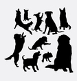 Dog and puppy animal silhouettes vector image vector image