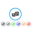 dollar and euro coin stacks rounded icon vector image vector image