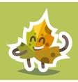 Emoticon Icon Friendly Maple Leaf vector image vector image