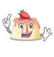 finger strawberry pudding served on mascot plate vector image vector image