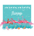 flamingoes and tropical tropical plants vector image vector image
