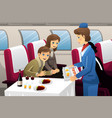 flight attendant in an airplane vector image vector image