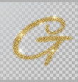 gold glitter powder letter g in hand painted style vector image
