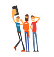 group of smiling male friends taking selfie photo vector image vector image