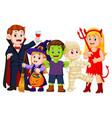 halloween trick or treating in halloween costume vector image vector image