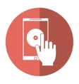 hand hold smartphone music application technology vector image vector image