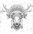 hipster animal deer with indian feather headdress vector image vector image