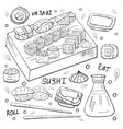 japan sushi elements outline on white background vector image vector image