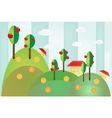 Landscape with hills trees and houses vector image